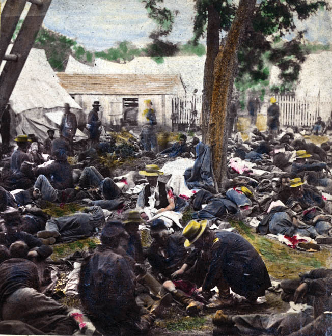 This hand-colored photograph of wounded Union soldiers during the Peninsula Campaign shows the makeshift nature of medical help. There was little time to deal with soldiers suffering from complex mental or emotional ailments.