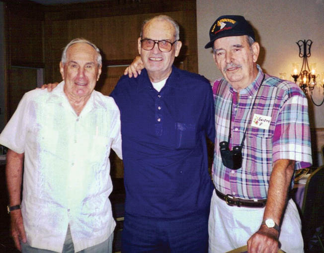 Three members of Easy Company at a 1999 reunion in Denver, Colorado (left to right): Buck Taylor, Earl McClung, Shifty Powers.