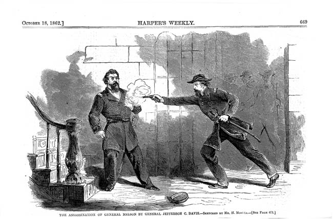 Davis fires at point-blank range into the chest of the unarmed Nelson, as depicted two weeks after the incident by Harper's Weekly. Davis claimed the gun had gone off by accident.