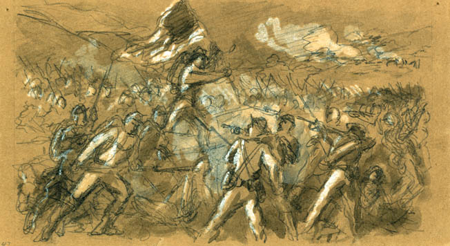 Union troops attack a Confederate fort at Petersburg. Famed war artist Alfred Waud made the sketch on the day of the attack.