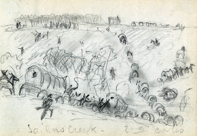 Waud sketched this chaotic scene as Confederate supply wagons scatter during an attack. Few if any supplies made it through to Robert E. Lee's hungry, footsore, and dispirited men on the withdrawal to Appomattox.