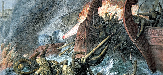 In AD 678, outside the storied walls of Constantinople, the Byzantine Empire unleashed its new secret war weapon upon the invading Saracen fleet: Greek Fire.