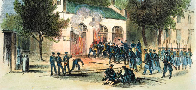 In October 1859, Robert E. Lee and J.E.B. Stuart of the U.S. Army helped take back the federal arsenal at Harpers Ferry from notorious terrorist John Brown.