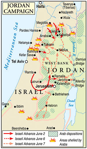 The Israeli Defense Force's (Zahal's) strategic invasion of the West Bank region of Jordan began at 5 pm on June 5, 1967. Read how it started inside.