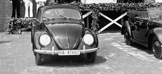 """Translated as """"the people's car,"""" the much-loved Volkswagen Bug was the brainchild of two designers: Ferdinand Porshe and Adolf Hitler."""
