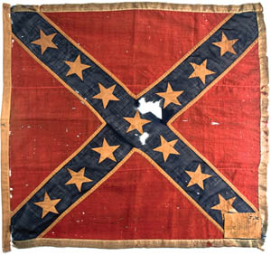"""A Confederate battle flag from c. 1862, part of the Charleston Museum's exhibition, """"Unfurled."""""""