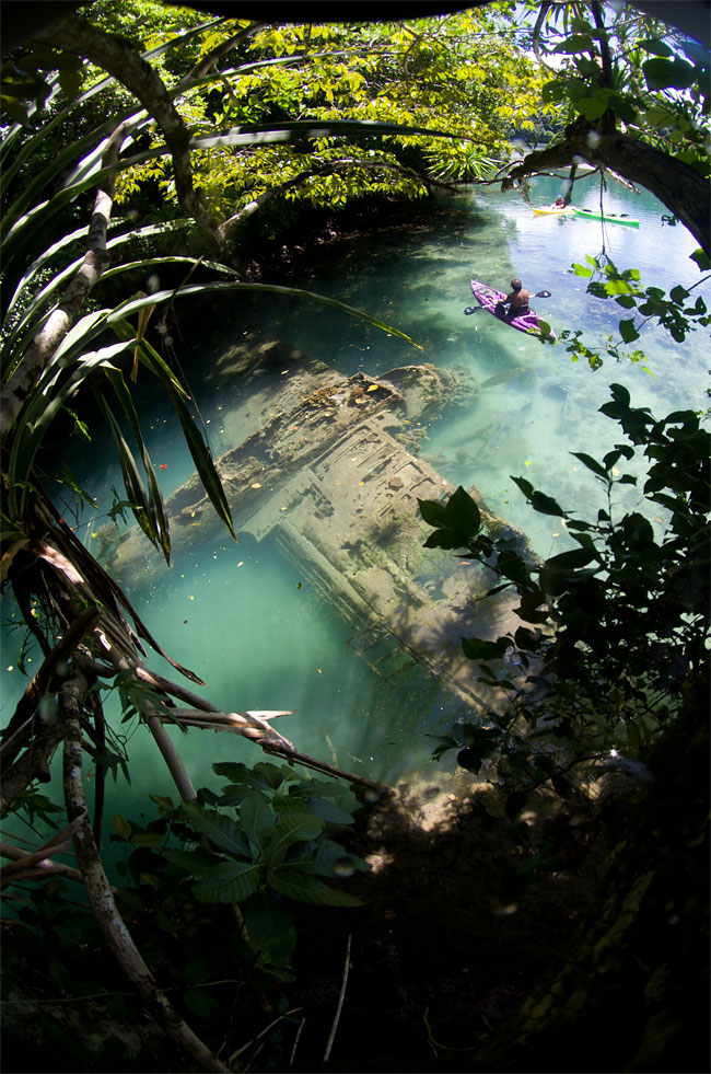 This award-winning photograph of a fallen Japanese plane was taken by Tony Cherbas, a citizen of Guam off the coast of Palau.