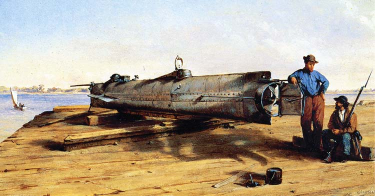 Three crews were lost during tests of the Horace L. Hunley, shown in a painting by Conrad Wise Chapman.