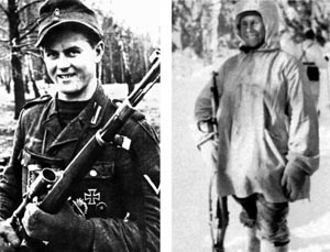"LEFT: German sniper Matthaus Hetzenauer was credited with killing dozens of Soviet soldiers on the Eastern Front. Along with fellow sniper Josef ""Sepp"" Allerberger, the two were responsible for approximately 600 kills. RIGHT: Finnish sniper Simo Hayha was nicknamed ""White Death"" and killed more than 500 Soviet soldiers during the Winter War prior to the outbreak of World War II."