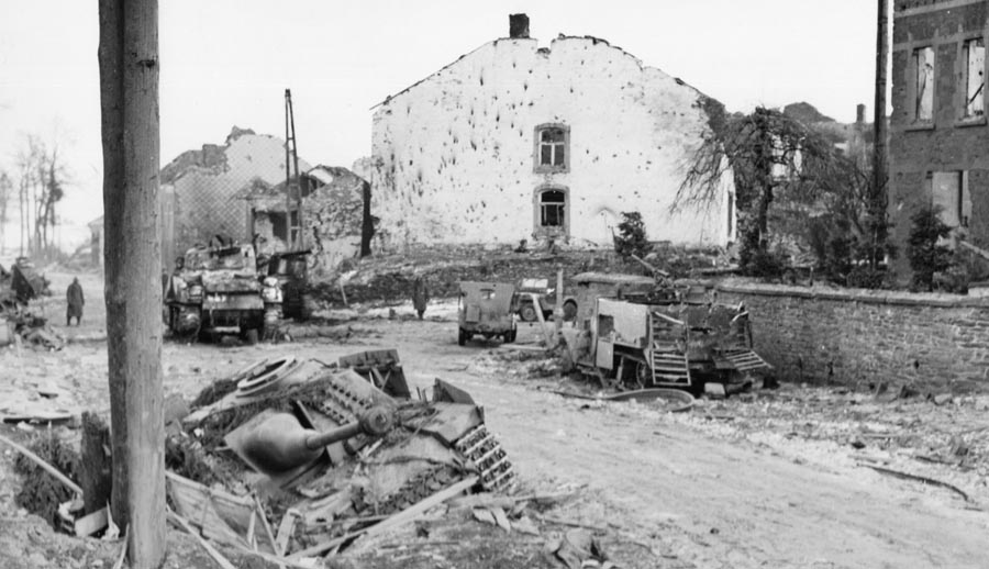 Some of Noville's burned-out buildings still stood after the battle. Maj. Robert Desobry set up his headquarters in the center house. It was there he and Lt. Col. LaPrade met their fate.