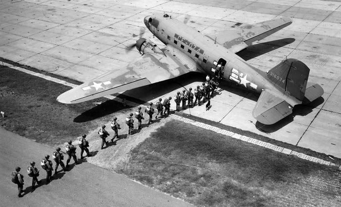 WWII paratroopers boarding C-47