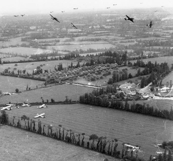 Gliders landing in Normandy on D-Day.