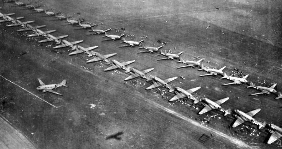 C-47 cargo planes ready for takeoff during Operation Market Garden
