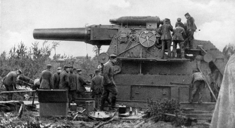 The Krupp-built German siege gun known as the Gamma Morser had a 17-inch barrel. The Germans deployed a battery of these guns by rail during the siege of Antwerp.