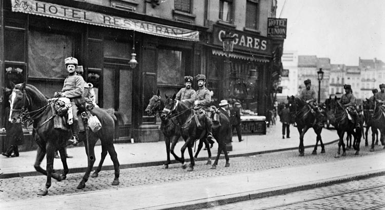 German Hussars ride through Antwerp after the city's surrender. The Allies succeeded in their strategic objective of preventing the Germans from capturing the French ports on the English Channel.