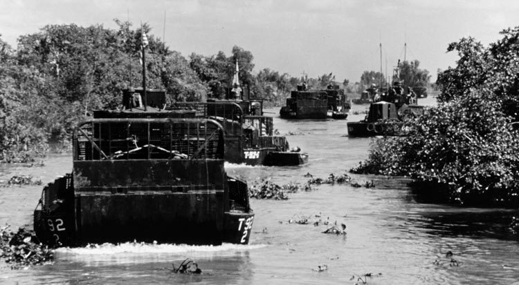 Armored PBRs of the Mobile Riverine Force on a mission in the Mekong Delta in 1967. A 5,000-man rapid-reaction force was established that year to deal with large-scale enemy threats.