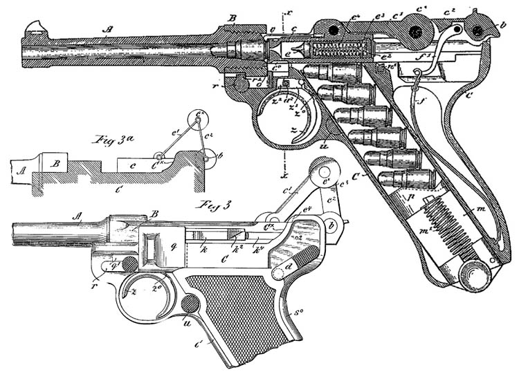 The patent drawings for the famed German Luger pistol reveal its inner complexity. The Luger was a reliable pistol that was often worn as an officer's sidearm.