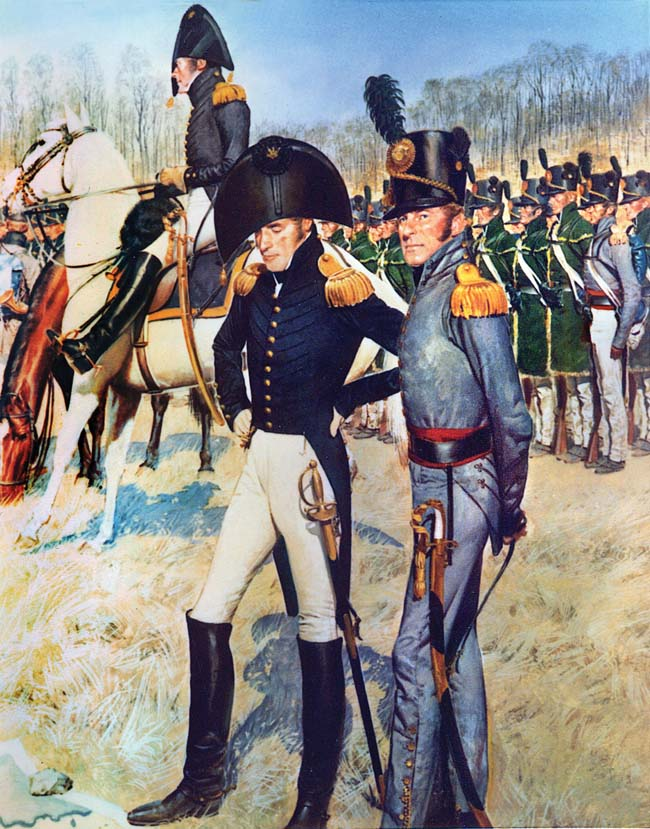 Soldiers of the U.S. 1st Rifle Regiment are shown in formation wearing green linen hunting shirts with yellow fringe, while a field officer of the unit wears a gray coat. Major Lodowick Morgan and his men defended the U.S. military depot at Black Rock against British raiders.