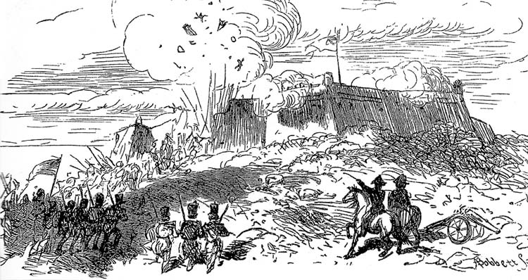 The powder magazine in the northeast bastion explodes as British soldiers manning a captured gun dueled with American artillerists. The explosion disrupted the British assault and contributed to its failure.