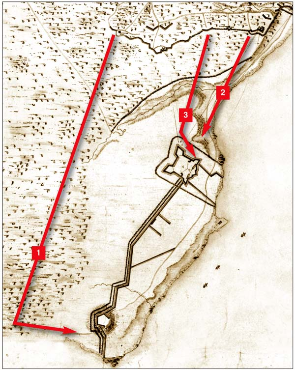 A contemporary map of Old Fort Erie shows Snake Hill redoubt at bottom and the British siege lines at top. British troops attacked the fort in three columns on the night of August 15-16. Columns 1 and 2 failed to enter the fort; column 3 captured the Northeast Bastion but could go no further.