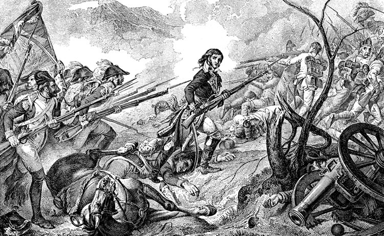 General Barthelemy Joubert leads his men in a charge against the wavering Austrians. Napoleon's victory at the Battle of Rivoli forced the Austrians to abandon Lombardy and accept an unfavorable peace treaty.
