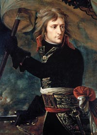 In an effort to inspire his troops, Napoleon grabbed a battle flag and waved it about on the causeway over the Alphone River at Arcole to rally his troops.