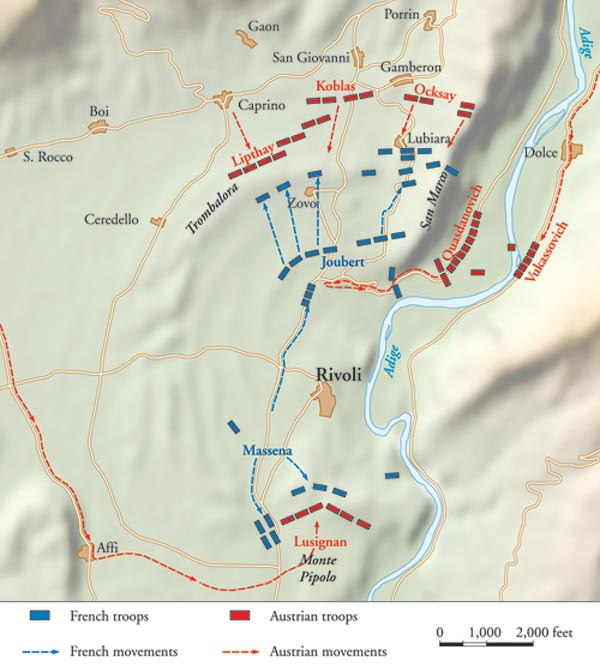 Austrian General Joszef Alvinczy's columns failed to arrive on schedule at the Battle of Rivoli. This allowed Napoleon ample time to consolidate his forces and arrive in time to personally direct them.