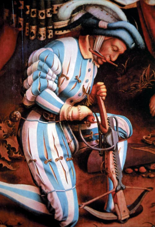 A 16th-century soldier uses a cranequin to draw back the string of his medieval crossbow. The cranequin was a late mechanical adaptation that made the weapon easier to cock.