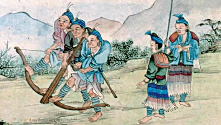 Three Chinese are drawing back the string of a huge crossbow. The weapon changed the face of warfare in China.