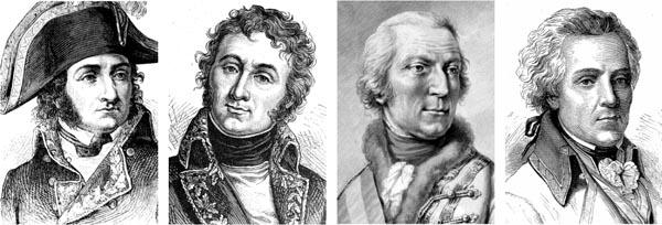 French General Andre Massena, French General Barthelemy Joubert, Austrian Field Marshal Dagobert von Wurmser, and Austrian General Joszef Alvinczy