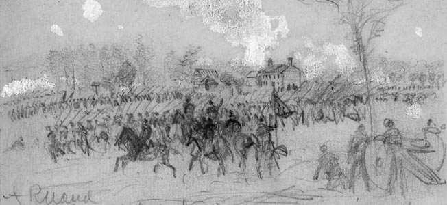 Brig. Gens. Francis Barlow's and John Gibbon's men charged across the open countryside between the Mechanicsville Road and the swamp, but were unable to reach the main Confederate line.