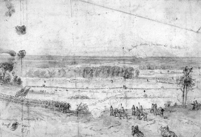 Battlefield artist Edwin Forbes sketched Brig. Gen. Rufus King's division, in the middle distance, attacking Stonewall Jackson's left flank. The view is looking south across the Warrenton Turnpike.