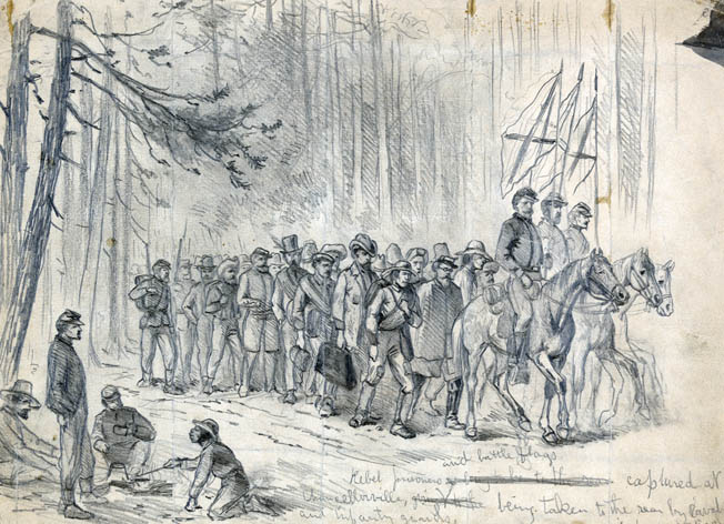 Confederate prisoners are shown at Chancellorsville. Sharpe negotiated the exchange of 4,000 Union prisoners after the May 1863 battle.