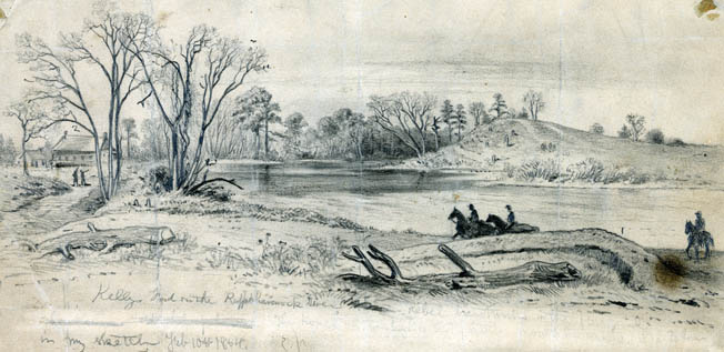 Normally placid Kelly's Ford on the Rappahannock River, as sketched by battlefield artist Edwin Forbes in 1864, was running unusually fast and deep in March 1863 due to heavy winter rains and melting snow.