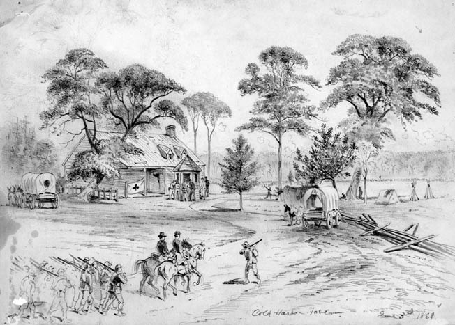 The dilapidated tavern at Cold Harbor was used by General Winfield Scott Hancock for his headquarters. The somewhat confusing place name was an old English term referring to a tavern that did not offer hot meals with its overnight accommodations.