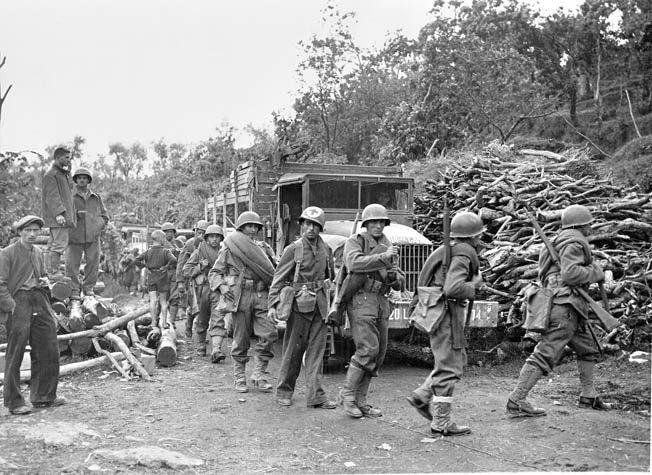 Brazilian Expeditionary Force troops, serving with Fifth Army, move forward, October 3.