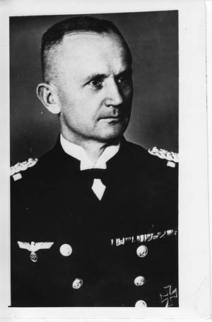The U-boat arm of the Kriegsmarine was under the command of Admiral Karl Dönitz.