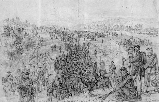 A cocky General Sheridan, doffing his cap to cheering soldiers, leads his 40,000-man Army of the Shenandoah on its irresistible advance down the Shenandoah Valley in the late summer of 1864.