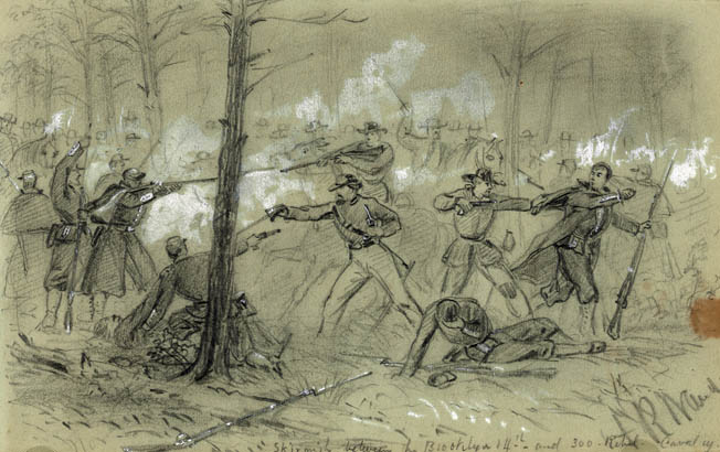 Members of the 14th Brooklyn Regiment engage Confederates in hand-to-hand fighting around Dunker Church. The fighting ebbed back and forth all morning.