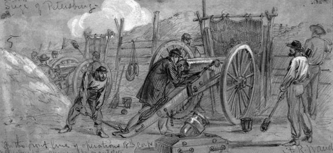 Union gunners aim a cannon at Confederate lines in support of the infantry attack at the Crater.