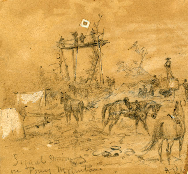 Eagle-eyed Union Signal Corps officers watch General Robert E. Lee's army in camp from an observation stand on Pony Mountain near Culpeper, Virginia, in September 1863.