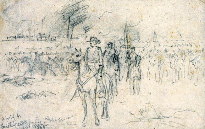 A sketch by battlefield artist A.R. Waud shows Maj. Gen. George Armstrong Custer preparing for his third charge of the day. Custer, like most of the Union commanders, felt that the war could be ended with one last push.
