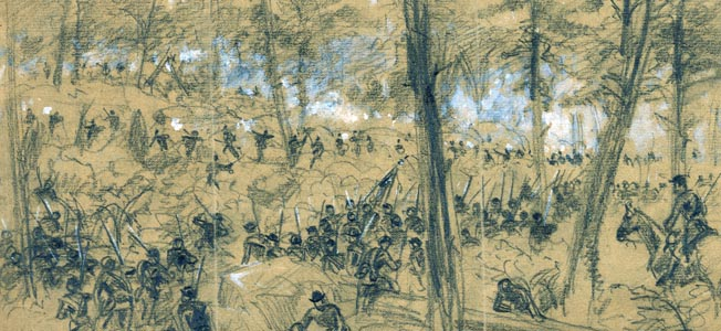 Reserve troops from Brig. Gen. David Russell's VI Corps advance through the Middle Field against Maj. Gen. Robert Rodes's Confederates. Both Russell and Rodes were killed in the fighting, some of the bloodiest of the entire war.