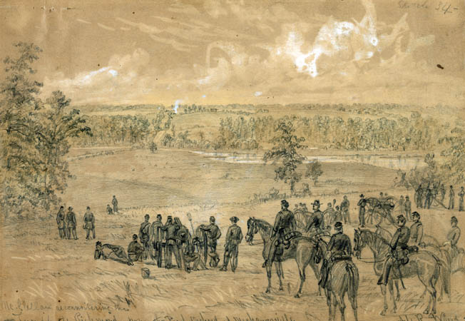 McClellan and his staff survey the fighting at Mechanicsville on June 26, 1862. In the distance is the turnpike to Richmond, the capital of the Confederacy. It was the first of the Seven Days Battles.