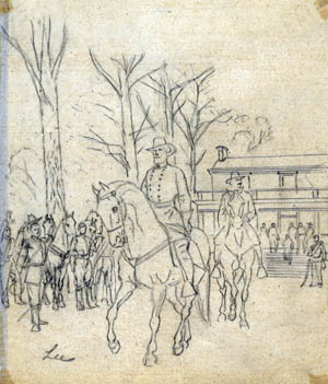 The ubiquitous Alfred Waud sketched Robert E. Lee leaving the McLean House after surrendering to Ulysses S. Grant at Appomattox. A Union officer, at left, doffs in hat in tribute as the general passes.