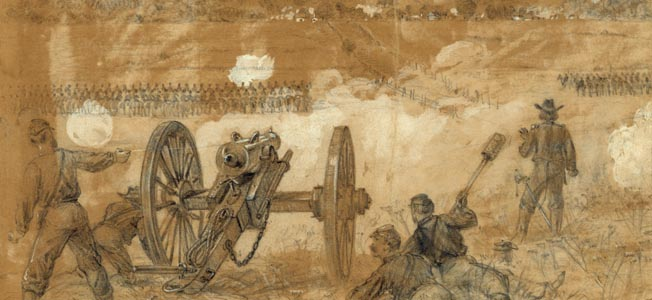 Another battlefield drawing from Alfred Waud's sketchbook of the action at Bristoe Station shows a Rhode Island artillery battery firing on Maj. Gen. Henry Heth's advancing Confederates.