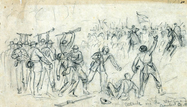 Waud sketched several of the concluding actions at Sayler's Creek. Here, Confederates in the rear guard raise their rifles in surrender to onrushing Union cavalry at Amelia Court House.