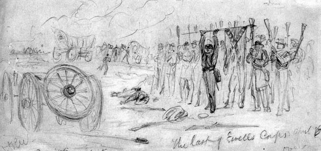 "Confederate troops in Lt. Gen. Richard Ewell's corps raise their muskets and regimental colors into the air as they surrender at Sayler's Creek on April 6. ""My God,"" said a shocked Robert E. Lee. ""Has the army been dissolved?"""