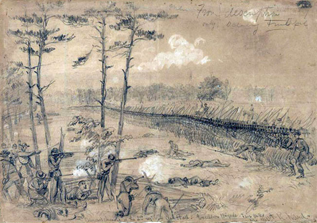 Bayonets bristling, the well-ordered 72nd and 74th New York Regiments of the Excelsior Brigade charge quick-firing Confederates on Sunday morning, June 1, 1862.