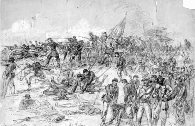 The 7th New York Heavy Artillery of Brigadier General Francis Barlow's 1st Division made a spirited attack on the Confederate works at Cold Harbor. They overran the first line of Lee's defense, capturing prisoners and turning captured guns on the Confederates before being pushed back when their success went unsupported.